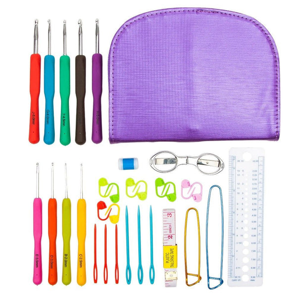 9 Sizes Hooks and Complete Crochet Accessories Set with Case 2.0-6.0mm - Free Shipping Worldwide