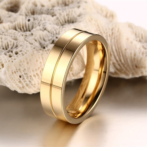 Gold Plated Stainless Steel Wedding Bands Rings - Free Shipping Worldwide-Rings-Great Deals and More