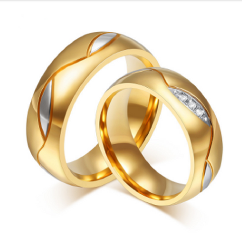 Gold Plated Stainless Steel Wedding Style Rings - Free Shipping Worldwide  Great Deals and More