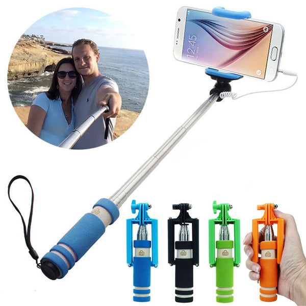 Portable Mini Folding Mobile Phone Wired Self Selfie Sticks For IOS & Android Built-in Shutter Selfie Monopod Tripod Gifts Rainbow - Offer (JUST PAY SHIPPING & HANDLING)