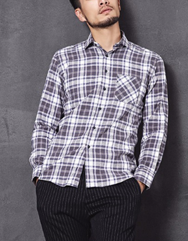 Men's Casual Long Sleeve Slim Shirt-Long Sleeve Shirt-Great Deals and More