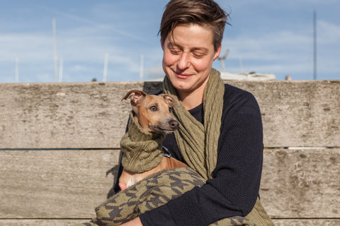 Ellery Bow snood and matching scarf for humans in New Olive