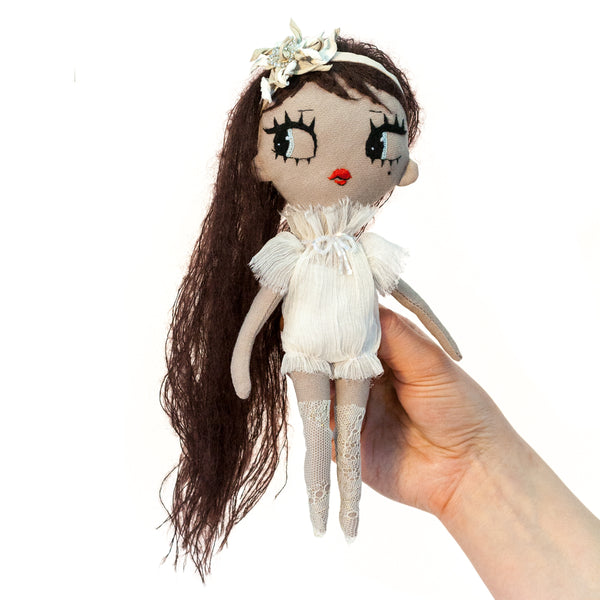 Aiko Dollcloud fashion doll with white ruffled dress