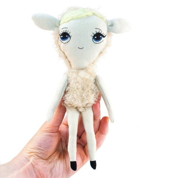 Dollcloud Beige Lamb Small Soft Doll front view