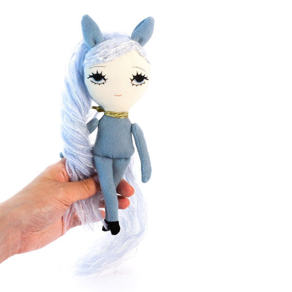 Dollcloud Blue Pony Small Soft Doll Front View