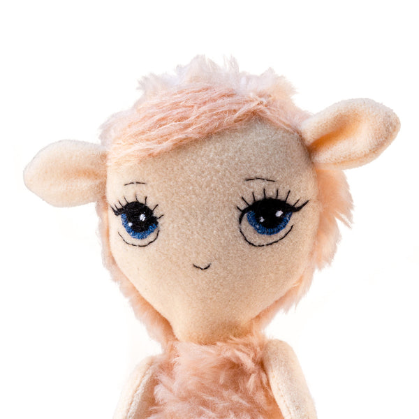 Dollcloud Pink Lamb Small Soft Doll portrait face view