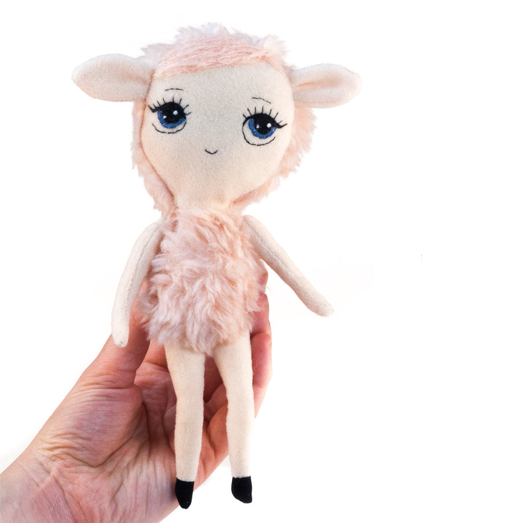 Dollcloud Pink Lamb Small Soft Doll front view