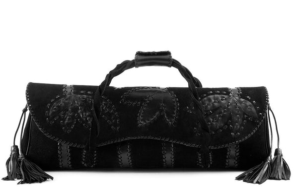 Dollcloud embroidered black leather doll carry bag front view