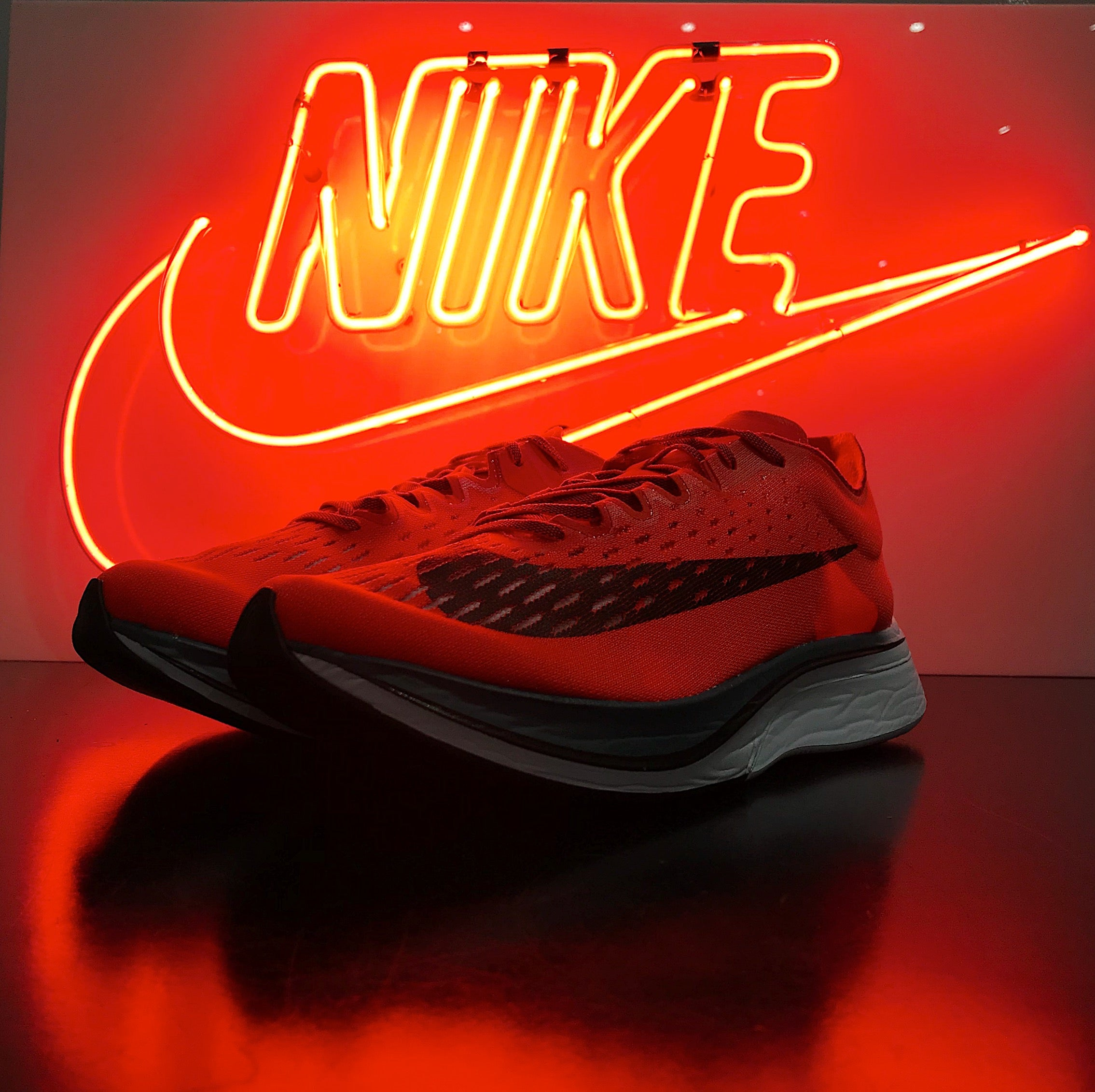 Nike Zoom Vapor Fly 4% with Nike Neon Sign