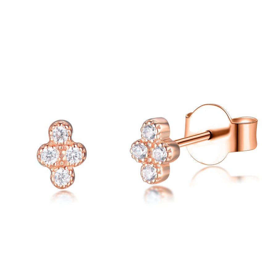 4 stone gold cz minimalistic stud earrings