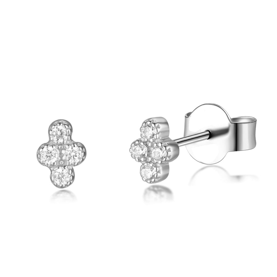 4 stone silver cz minimalistic stud tragus earrings