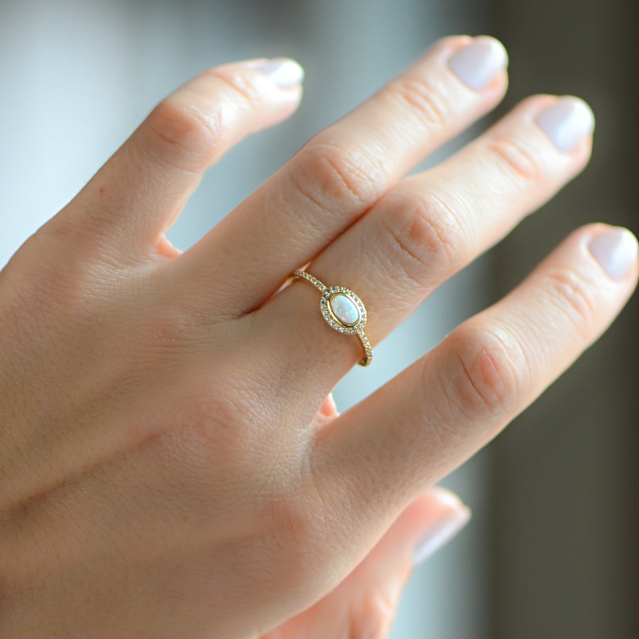opal and cz gold ring