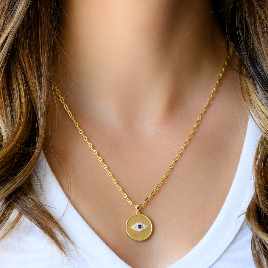 gold cz evil eye medallion necklace chain