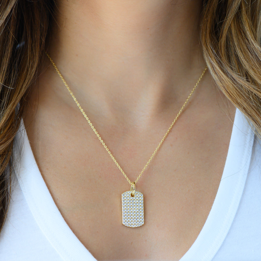 gold cz pave dog tag medallion necklace