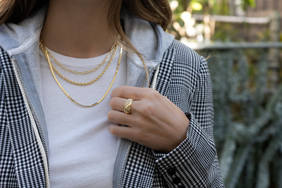 layering necklace and ring