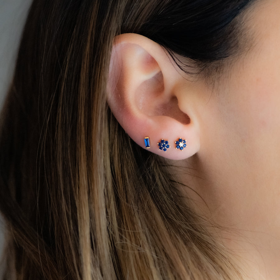 cubic zirconia sapphire blue flower stud earrings