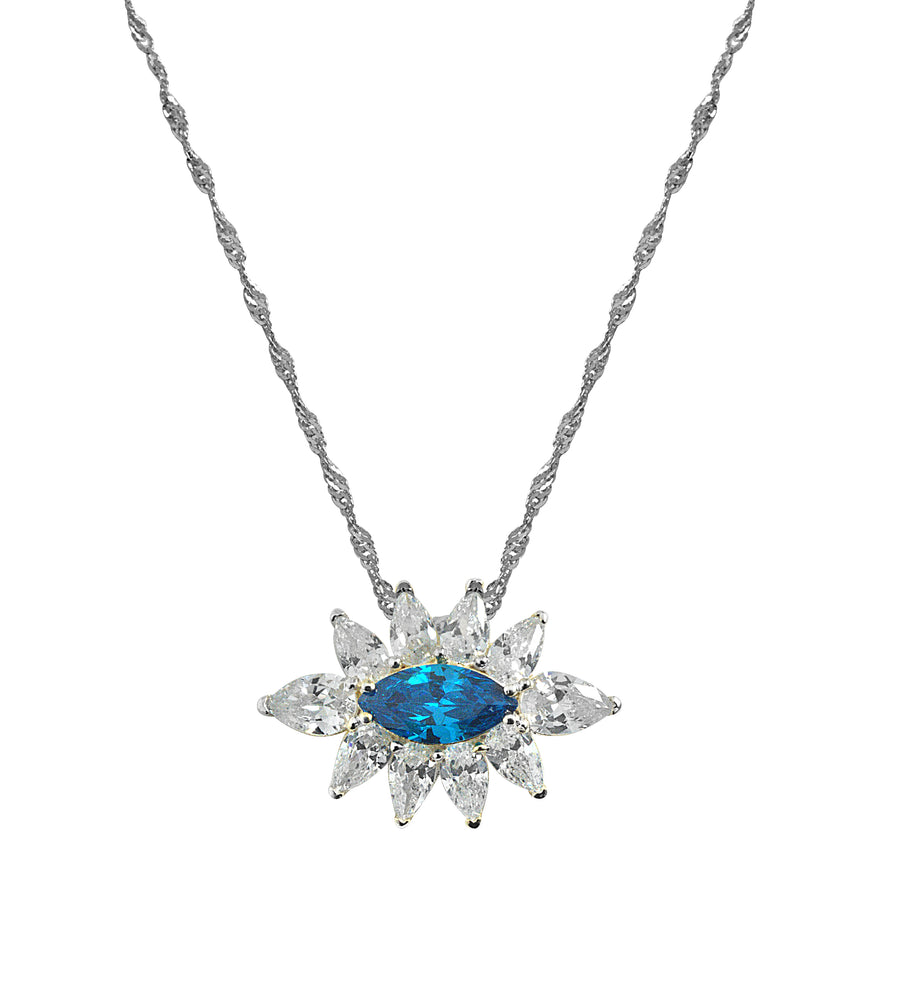 Blue Topaz Evil Eye Necklace