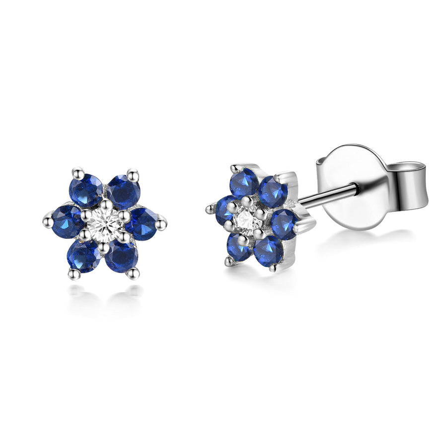 silver rhodium flower stud earrings