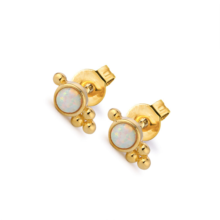 Embellished Opal Stud Earrings