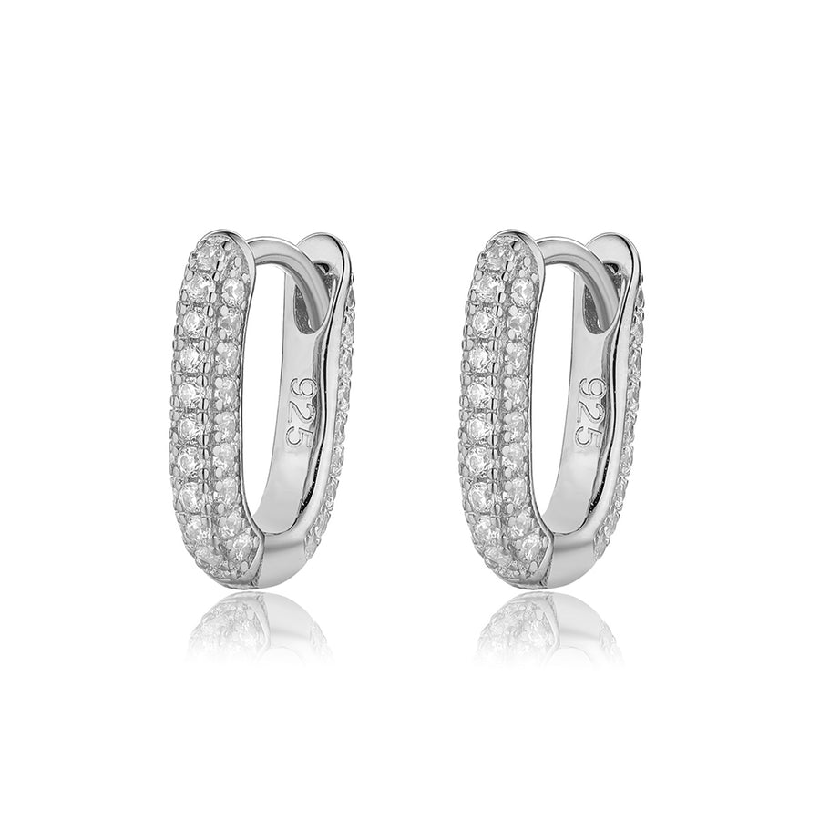silver pave huggie earrings