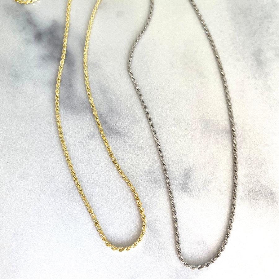 layering rope chain necklace