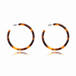 Brown Tortoise Hoop Earrings
