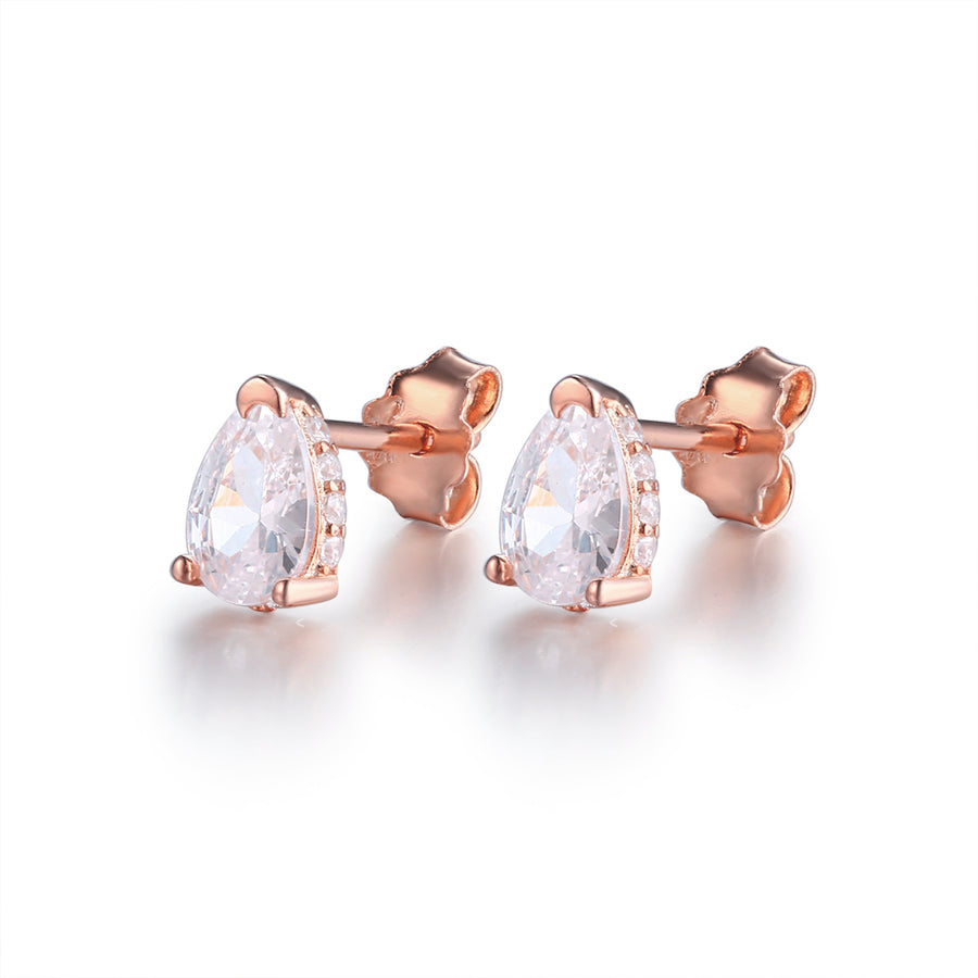 rose gold pear stud earrings
