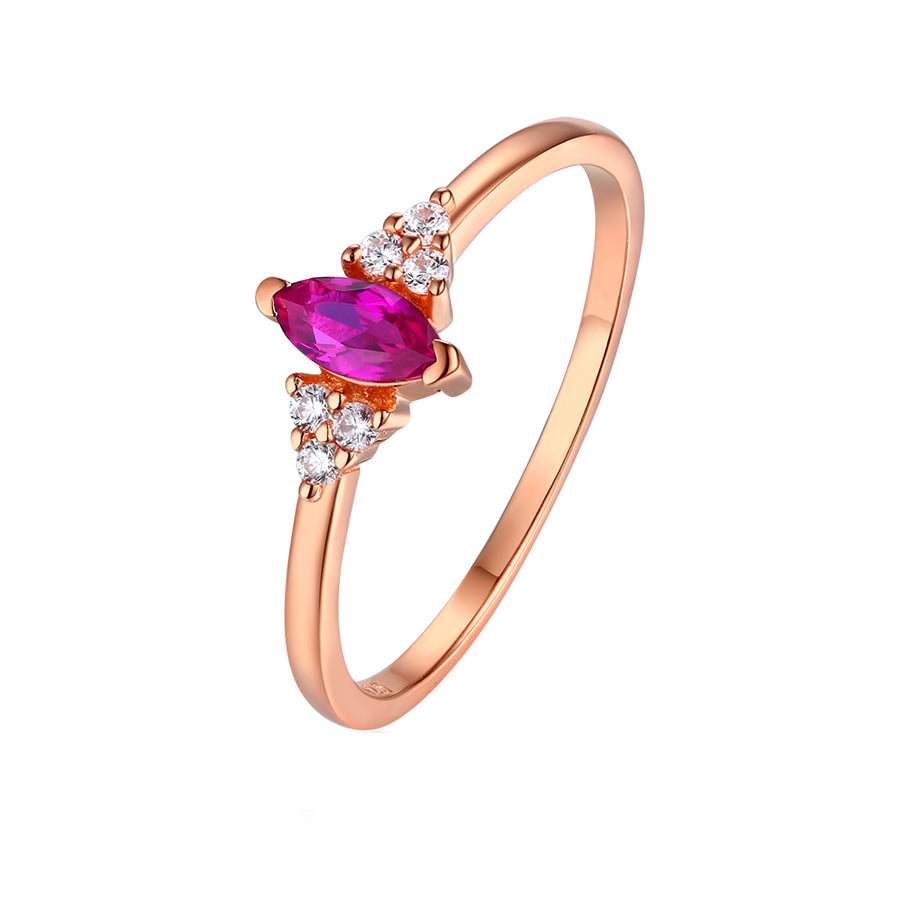 rose gold ruby marquise ring