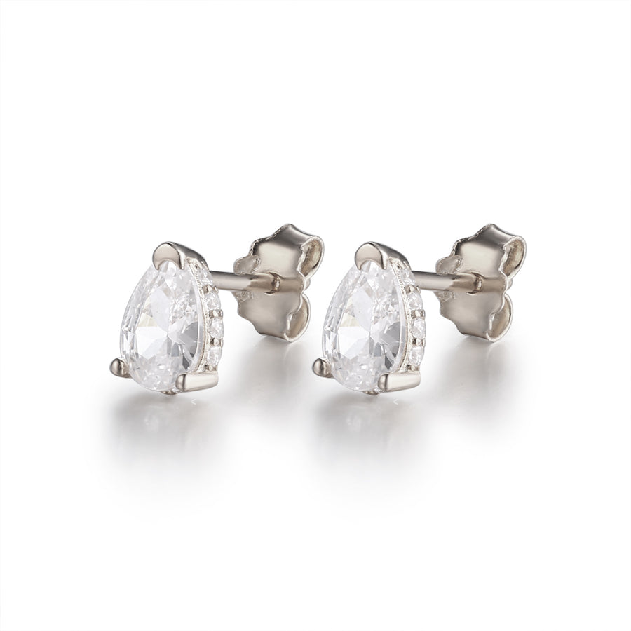 silver pear stud earrings