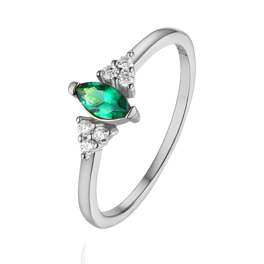 marquise silver emerald ring