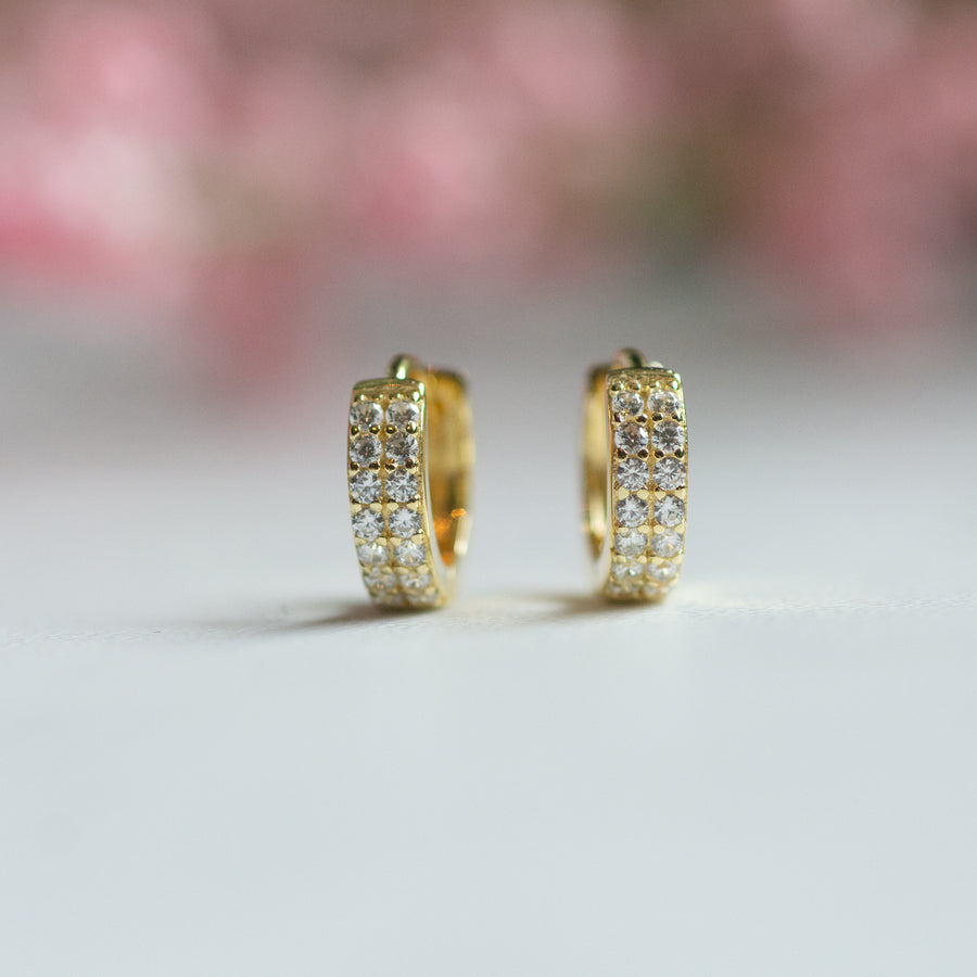 gold diamond huggie earrings