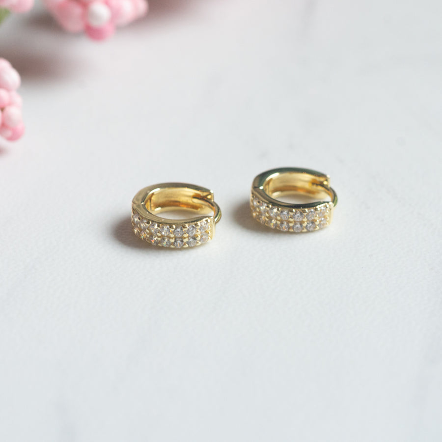 two row diamond huggie earrings