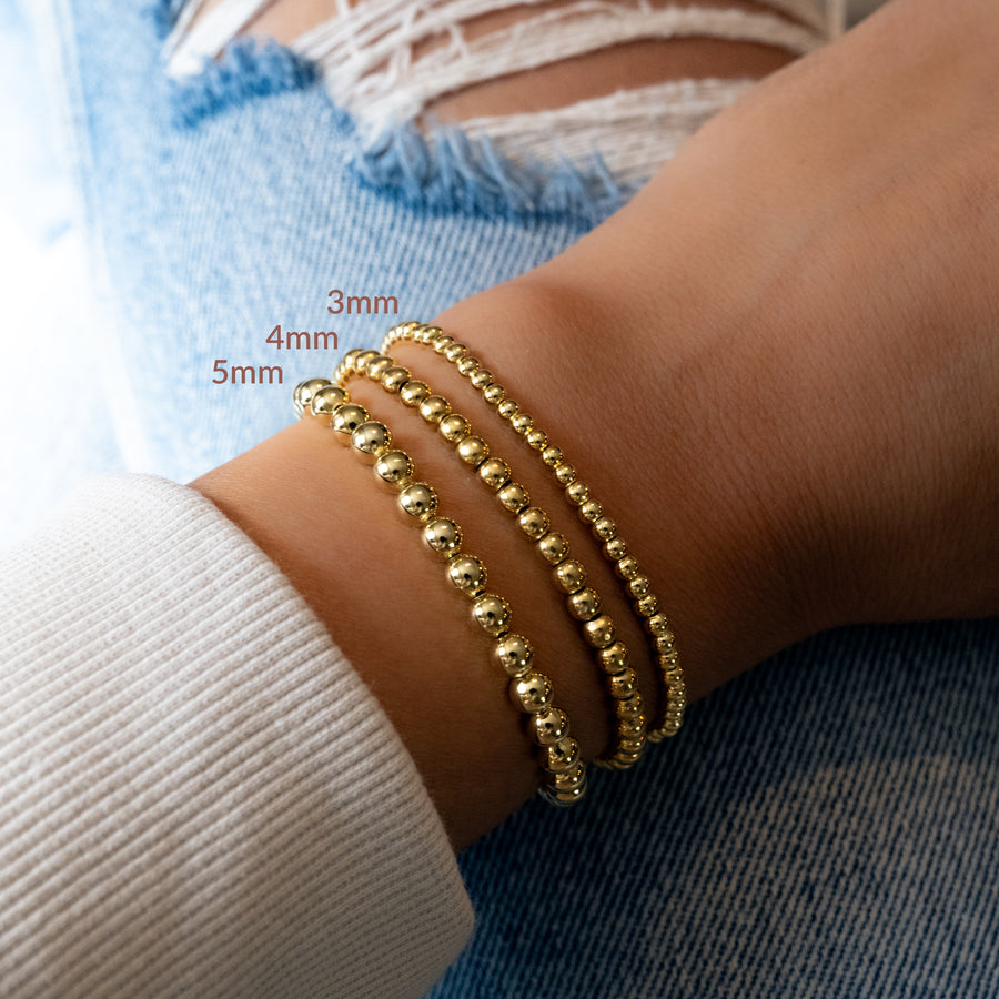 stackable gold beaded bracelets
