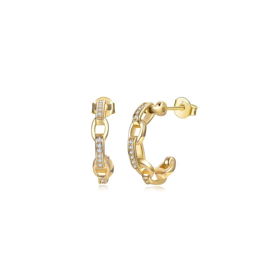 gold diamond chain hoop earring