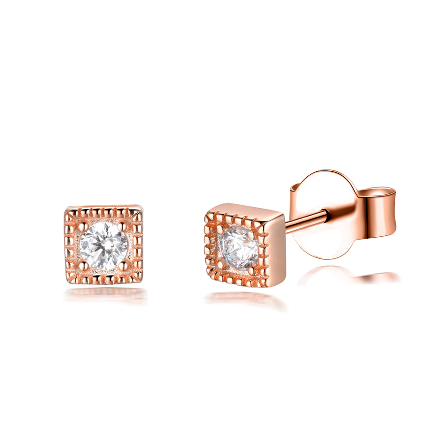 tiny gold cz bar diamond stud earring stackable rose gold