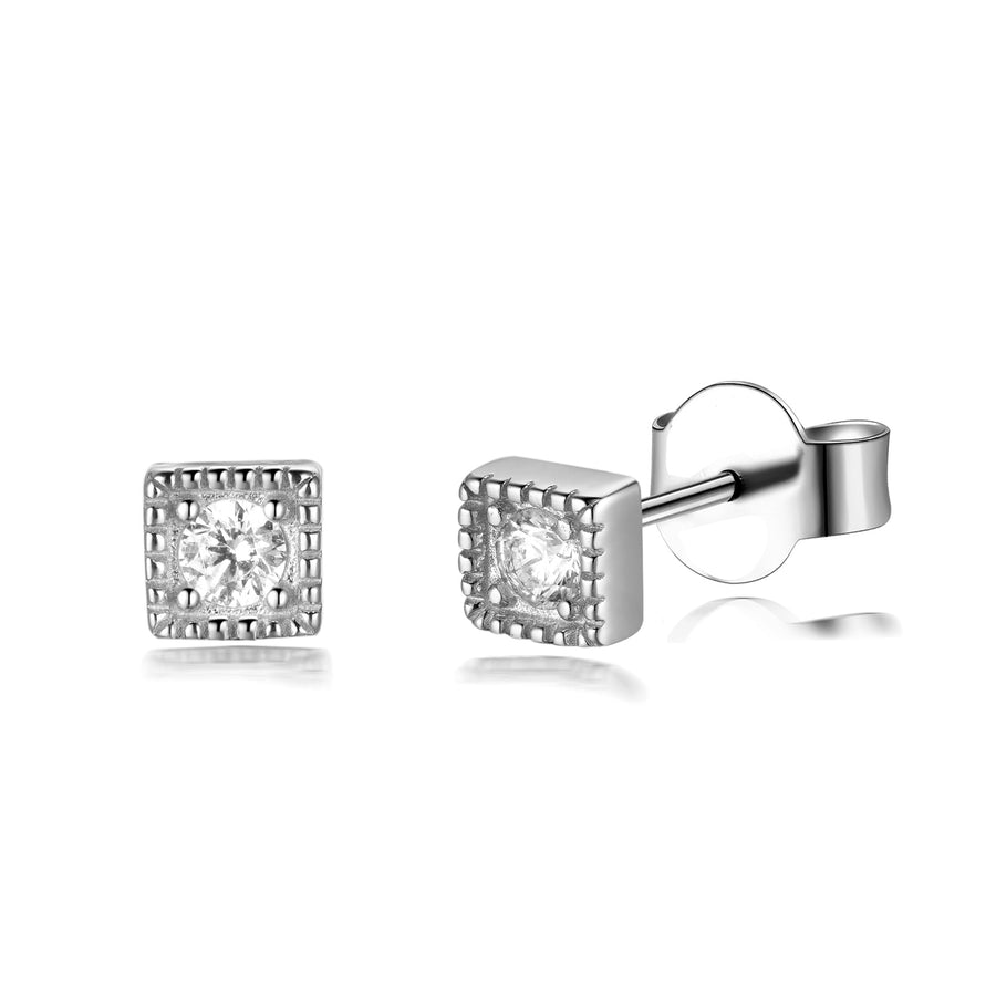 tiny gold cz bar diamond stud earring minimalistic dainty look