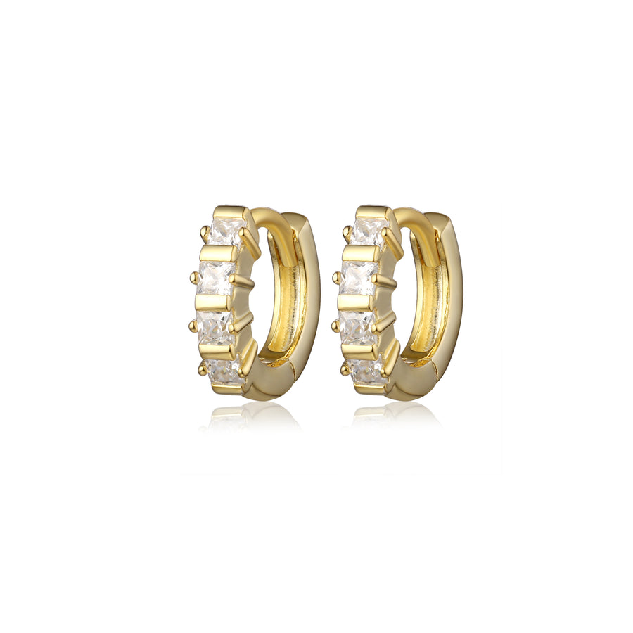Pair of small gold diamond huggies