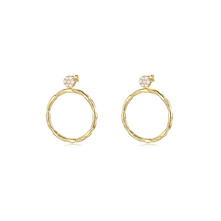 diamond circle hoop earring