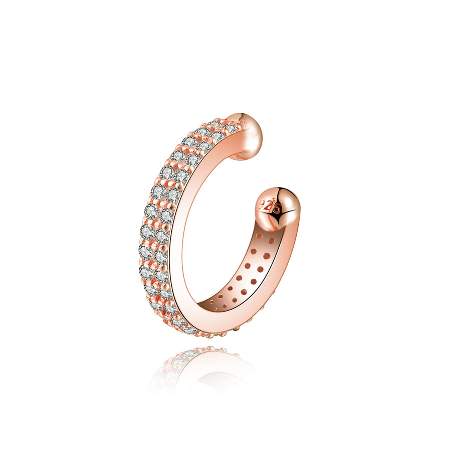 rose gold cz 14k plated 2 row ear cuff