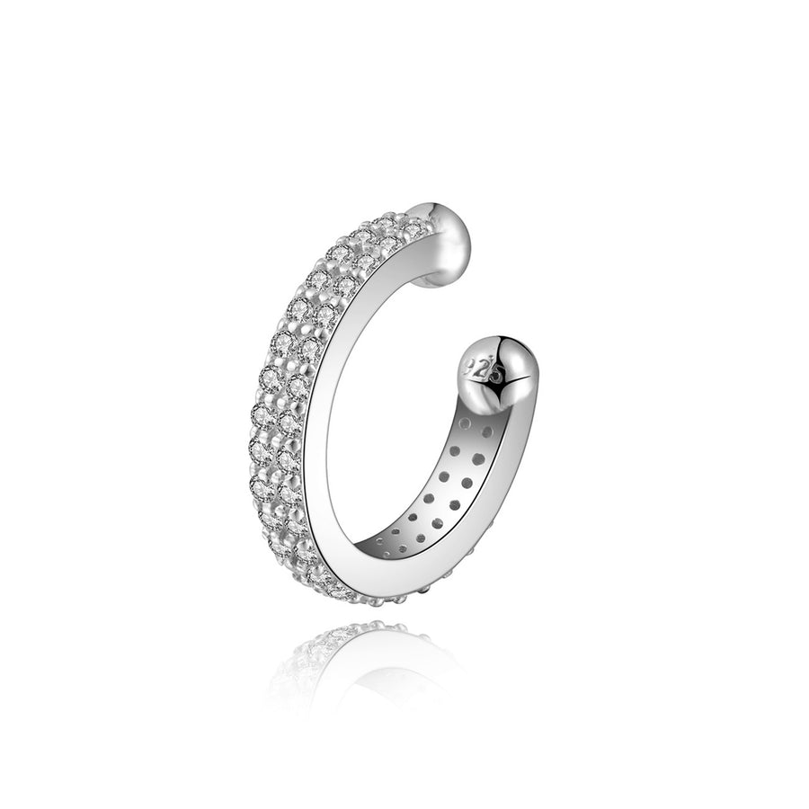 sterling silver rhodium cz 14k plated 2 row ear cuff