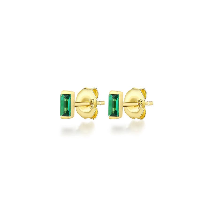 Emerald Baguette Stud Earrings