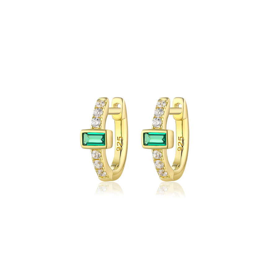 emerald baguette diamond hoop earrings