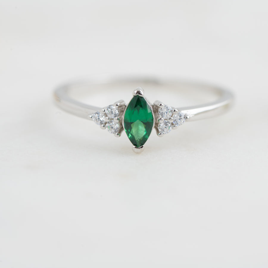 emerald marquise silver cz ring