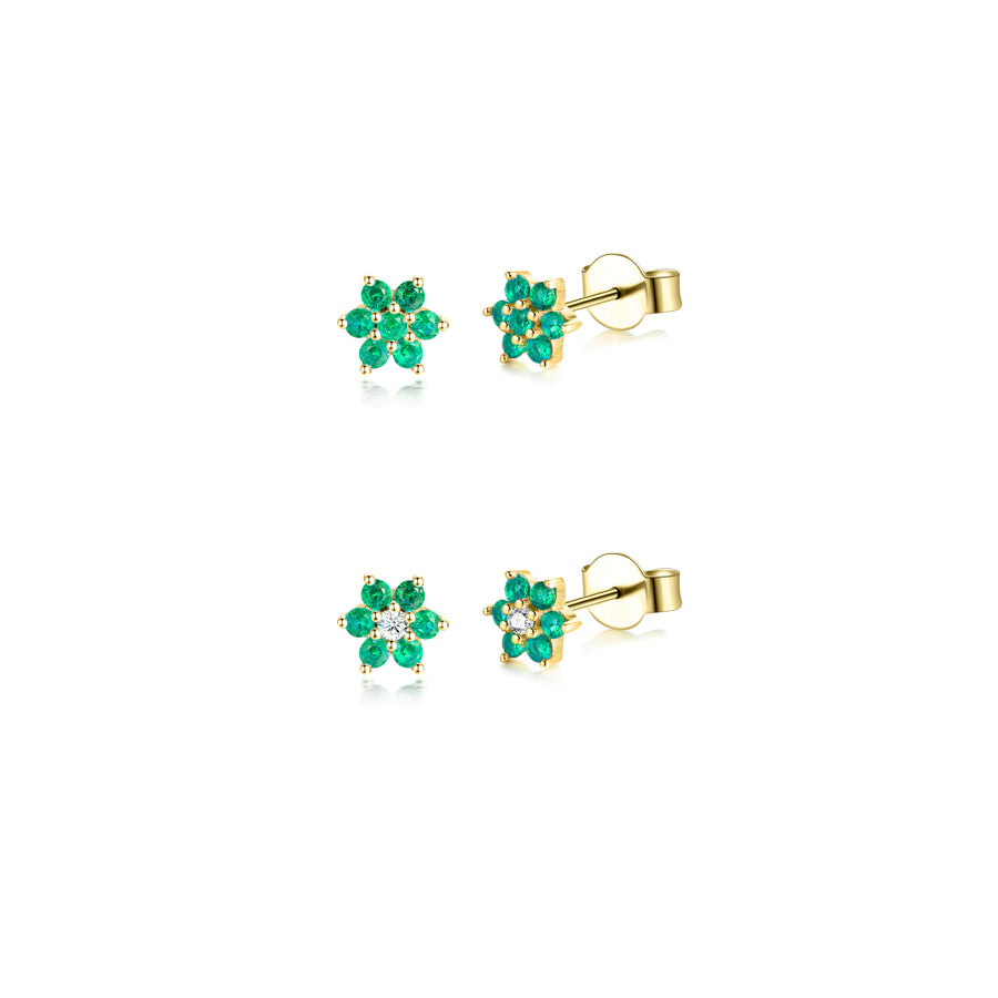 emerald flower gold stud