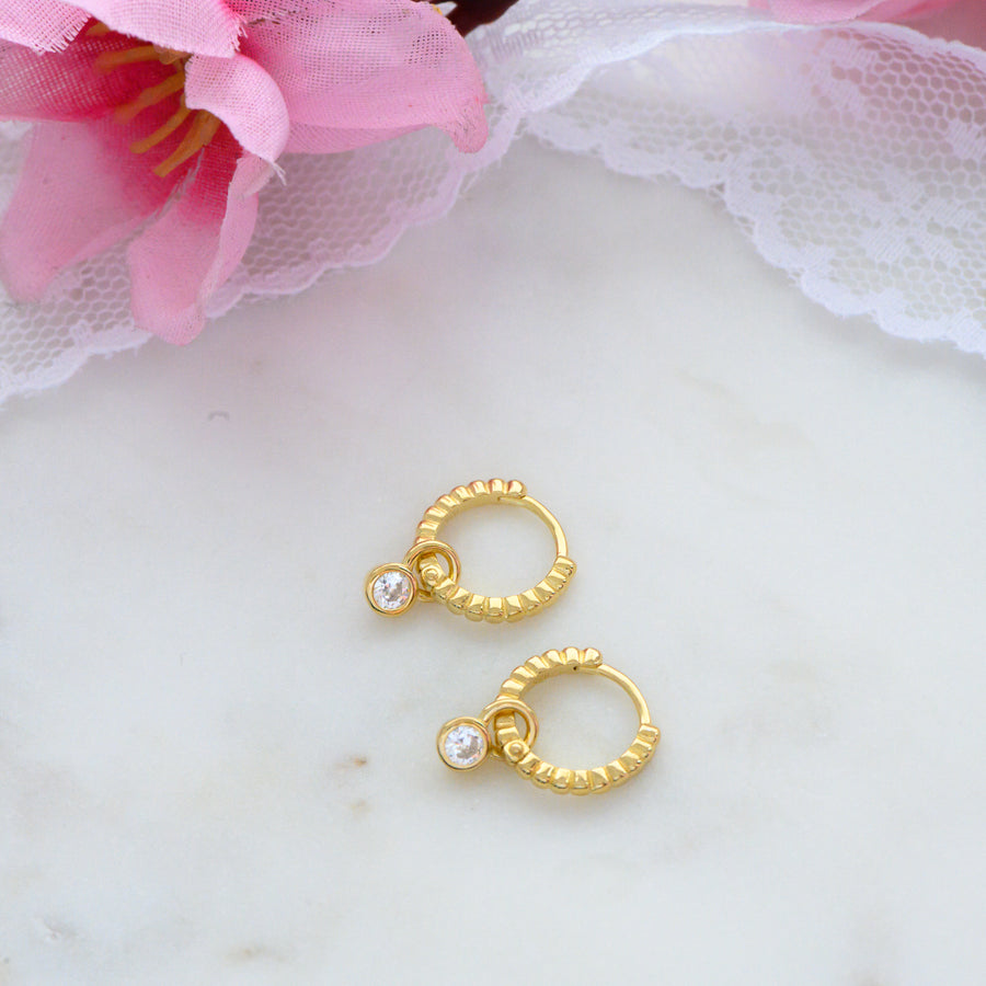 gold beaded charm dainty hoop earring