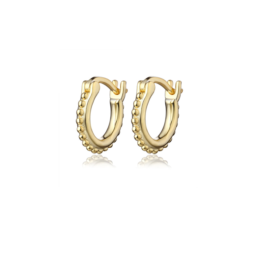 latch back huggie hoop earring with a beaded detail