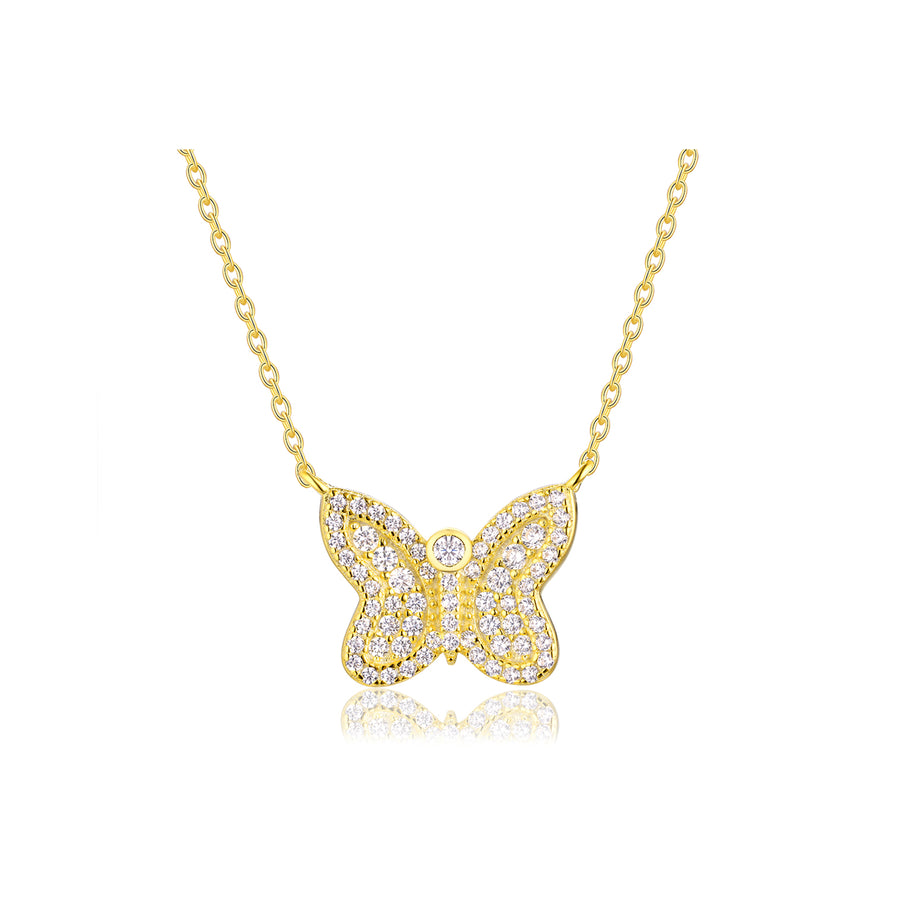 gold butterfly diamond necklace