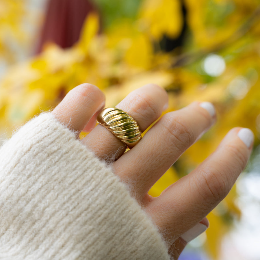 large gold plain croissant ring