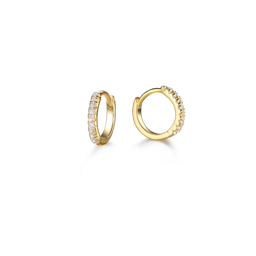 a pair of gold, pave cubic zirconia, small hoop earrings made of sterling silver plated 14k gold