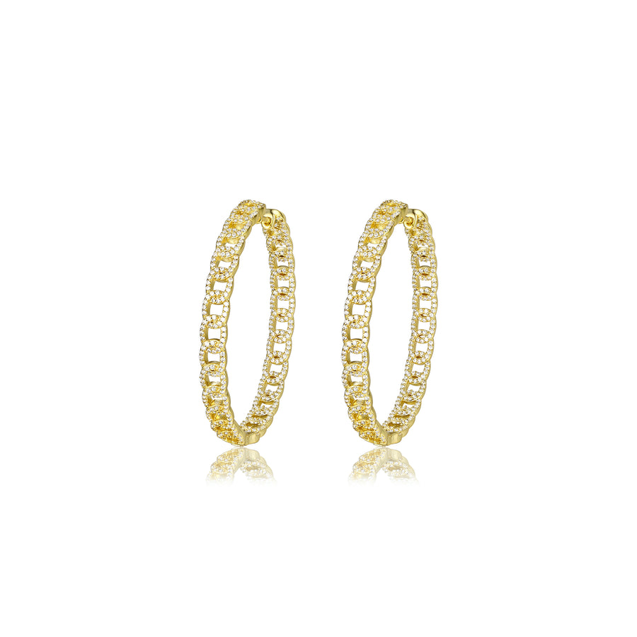 gold diamond chain hoop earrings